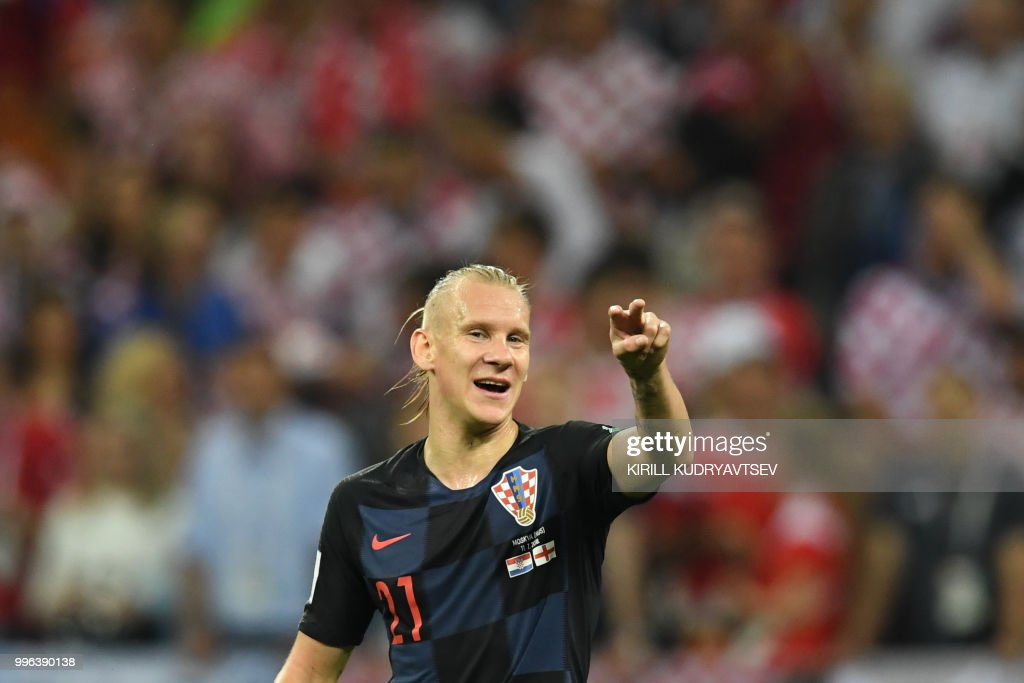 Croatia's defender Domagoj Vida gestures during the Russia 2018 World Cup semi-final football match between Croatia and England at the Luzhniki Stadium in Moscow on July 11, 2018. (Photo by Kirill KUDRYAVTSEV / AFP) / RESTRICTED