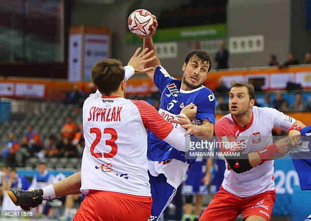Croatia's Domagoj Duvnjak attempts a shot on goal during the 24th Men's Handball World Championships quarterfinals match between Poland and Croatia...