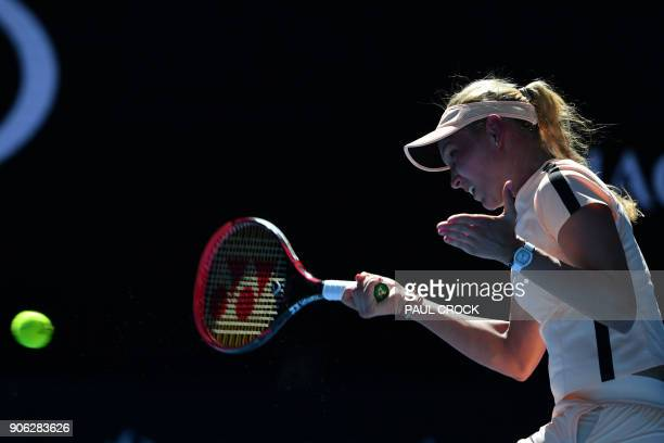 Croatia's Donna Vekic hits a return against Germany's Angelique Kerber during their women's singles second round match on day four of the Australian...