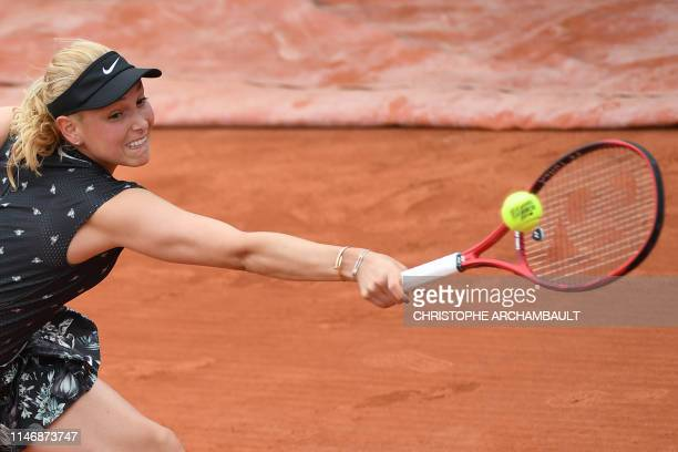 Croatia's Donna Vekic returns the ball to Sweden's Rebecca Peterson during their women's singles second round match on day four of The Roland Garros...