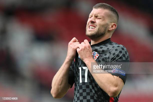 Croatia's forward Ante Rebic reacts during the UEFA EURO 2020 Group D football match between Croatia and Czech Republic at Hampden Park in Glasgow on...