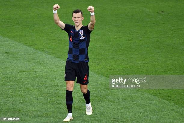 Croatia's forward Ivan Perisic celebrates after scoring a goal during the Russia 2018 World Cup Group D football match between Iceland and Croatia at...