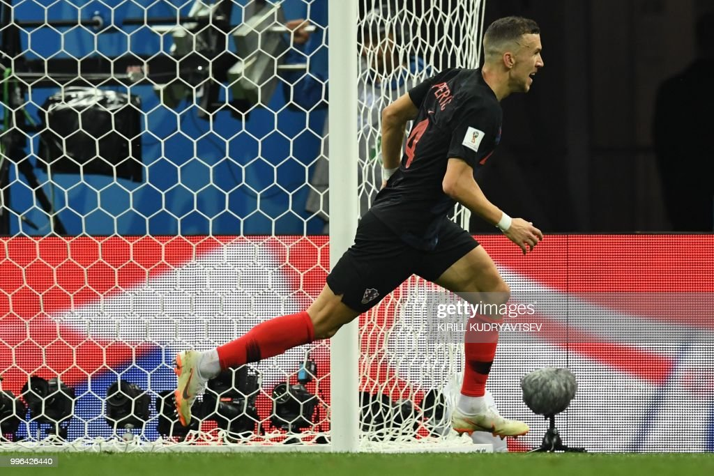 Croatia's forward Ivan Perisic celebrates after scoring a goal during the Russia 2018 World Cup semi-final football match between Croatia and England at the Luzhniki Stadium in Moscow on July 11, 2018. (Photo by Kirill KUDRYAVTSEV / AFP) / RESTRICTED