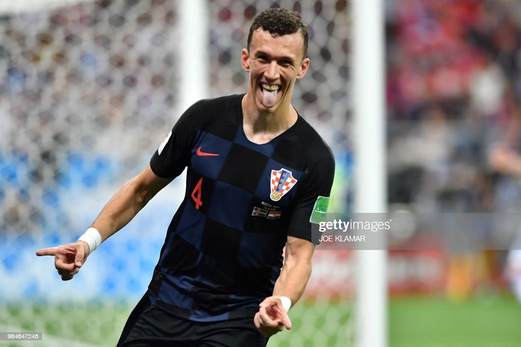 TOPSHOT - Croatia's forward Ivan Perisic celebrates after scoring his team's second goal during the Russia 2018 World Cup Group D football match between Iceland and Croatia at the Rostov Arena in Rostov-On-Don on June 26, 2018. (Photo by JOE KLAMAR / AFP) / RESTRICTED