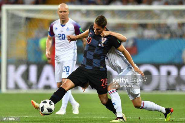 TOPSHOT Croatia's forward Marko Pjaca controls the ball during the Russia 2018 World Cup Group D football match between Iceland and Croatia at the...