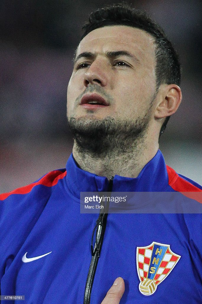 Croatia's goalkeeper Danijel Subasic stands for the national anthem prior the international friendly match between Switzerland and Croatia at the AFG Arena on March 5, 2014 in St Gallen, Switzerland.