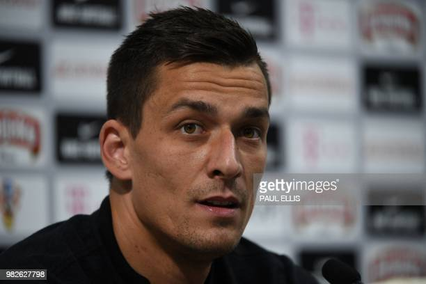 Croatia's goalkeeper Lovre Kalinic attends a press conference at the Roschino Arena outside Saint Petersburg on June 24 during the Russia 2018 World...
