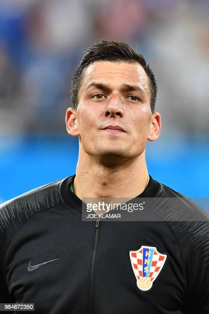 Croatia's goalkeeper Lovre Kalinic poses ahead of the Russia 2018 World Cup Group D football match between Iceland and Croatia at the Rostov Arena in...