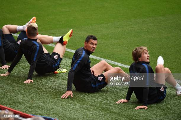 Croatia's goalkeeper Lovre Kalinic take part in a training session at Anfield stadium in Liverpool on June 2 ahead their International friendly...