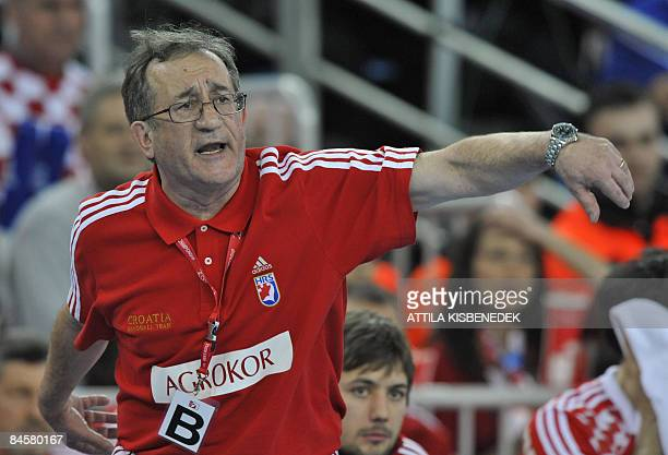 Croatia's head coach Lino Cervar reacts during their men's World Championships final match against France at the 'Arena Zagreb' sports hall on...