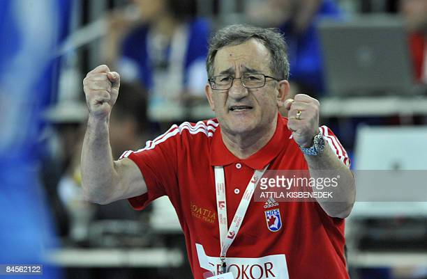 Croatia's head coach Lino Cervar reacts during their men's World Championships semifinals match against Poland on January 30 2009 at the 'Arena...