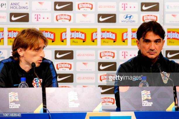 Croatia's head coach Zlatko Dalic and midfielder Luka Modric attend a press conference at the Maksimir football stadium in Zagreb on November 14 2018...
