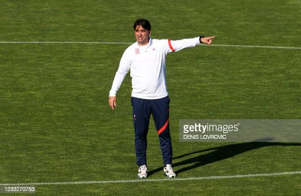 Croatia's head coach Zlatko Dalic gives instructions during a training session at the Maksimir Stadium on June 4 as part of the preparations ahead of...