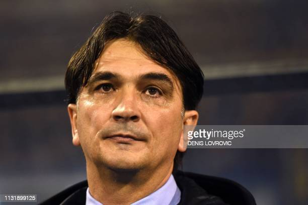 Croatia's head coach Zlatko Dalic looks on during the Euro 2020 qualification football match between Croatia and Azerbaijan at Maksimir stadium in...