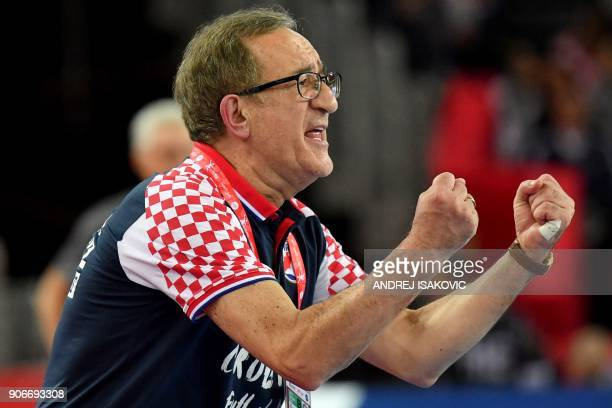 Croatia's headcoach Lino Cervar reacts during the group I match of the Men's 2018 EHF European Handball Championship between Croatia and Belarus in...
