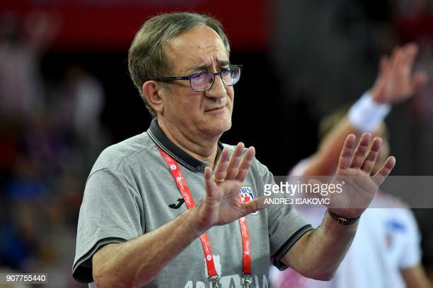 Croatia's headcoach Lino Cervar reacts during their group I match of the Men's 2018 EHF European Handball Championship between Croatia and Norway in...