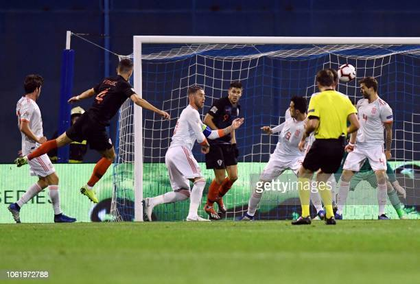 Croatia's Ivan Perisic tries to score during the UEFA Nations League football match between Croatia and Spain at the Maksimir Stadium in Zagreb on...