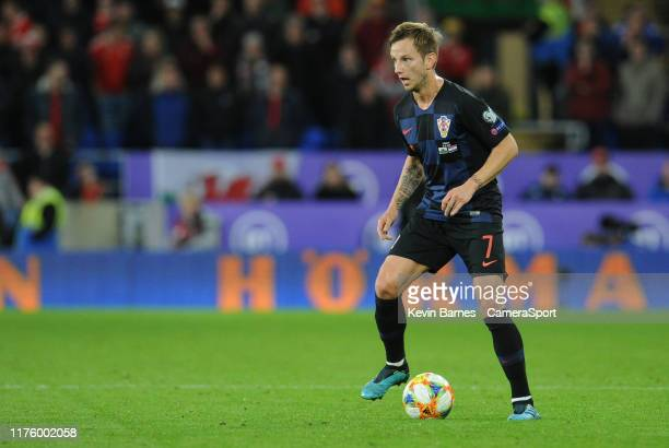 Croatia's Ivan Rakitic during the UEFA Euro 2020 qualifier between Wales and Croatia at Cardiff City Stadium on October 13 2019 in Cardiff Wales