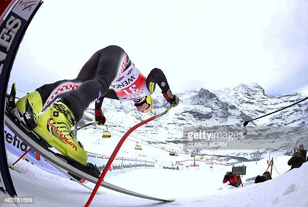 Croatia's Ivica Kostelic takes the start of the FIS Alpine World Cup Men's Downhill training on January 15 2014 in Wengen AFP PHOTO / OLIVIER MORIN