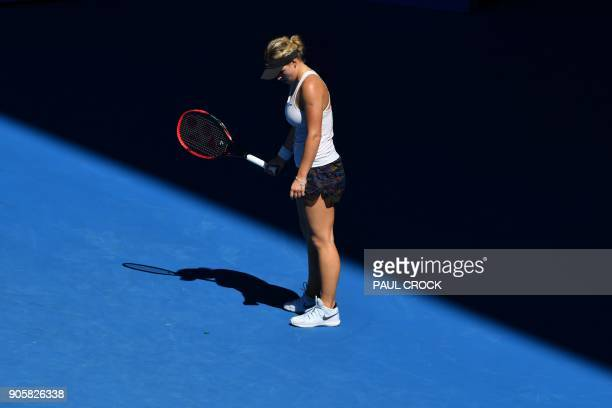 Croatia's Jana Fett reacts after a point against Denmark's Caroline Wozniacki during their women's singles second round match on day three of the...