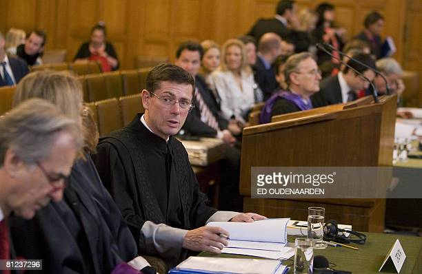 Croatia's lawyer, Ivan Simonovic , and Serbia's counsel Tibor Varady attend on May 26, 2008 in The Hague the International Court of Justice hearing...