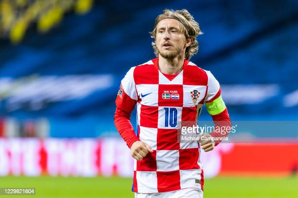Croatias Luka Modric during the UEFA Nations League group stage match between Sweden and Croatia at Friends Arena on November 14, 2020 in Stockholm,...