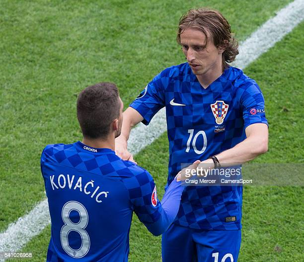 Croatia's Luka Modric is replaced by Croatia's Mateo Kovacic during the UEFA Euro 2016 Group D match between Czech Republic and Croatia at Stade...