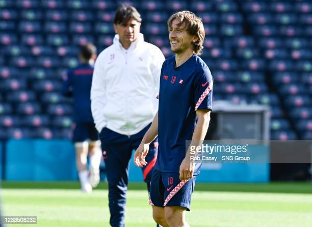 Croatia's Luka Modric trains at Hampden Park on June 17 in Glasgow, Scotland.