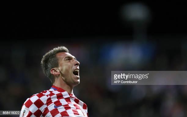 Croatia's Mario Mandzukic celebrates scoring his team's first goal during the FIFA World Cup 2018 qualification football match between Croatia and...