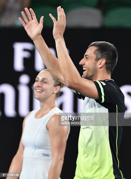 Croatia's Mate Pavic and Canada's Gabriela Dabrowski celebrate beating Hungary's Timea Babos India's Rohan Bopanna in their mixed doubles final match...