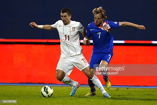 Croatia's Mateo Kovacevic vies with Croatia's Mateo Kovacevic during the World Cup 2014 qualifying football match Croatia vs Serbia at Maksimir...