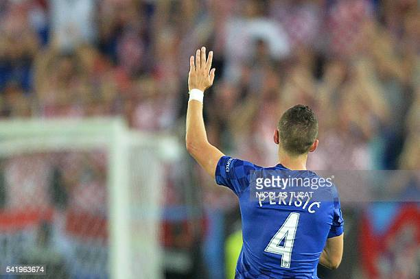 Croatia's midfielder Ivan Perisic celebrates after scoring his team's second goal during the Euro 2016 group D football match between Croatia and...