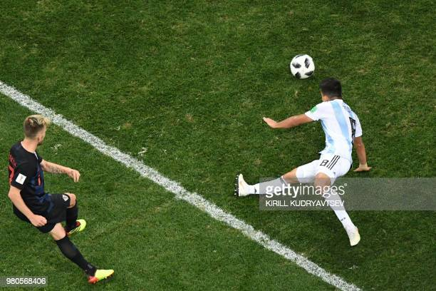 Croatia's midfielder Ivan Rakitic scores during the Russia 2018 World Cup Group D football match between Argentina and Croatia at the Nizhny Novgorod...