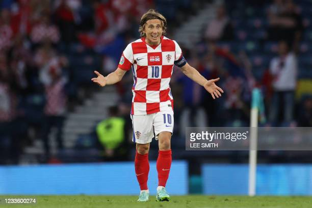 Croatia's midfielder Luka Modric celebrates after scoring the second goal during the UEFA EURO 2020 Group D football match between Croatia and...