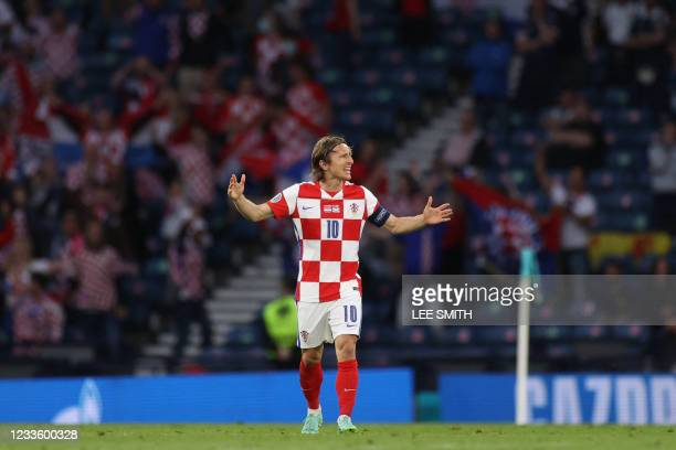 Croatia's midfielder Luka Modric celebrates his second goal during the UEFA EURO 2020 Group D football match between Croatia and Scotland at Hampden...