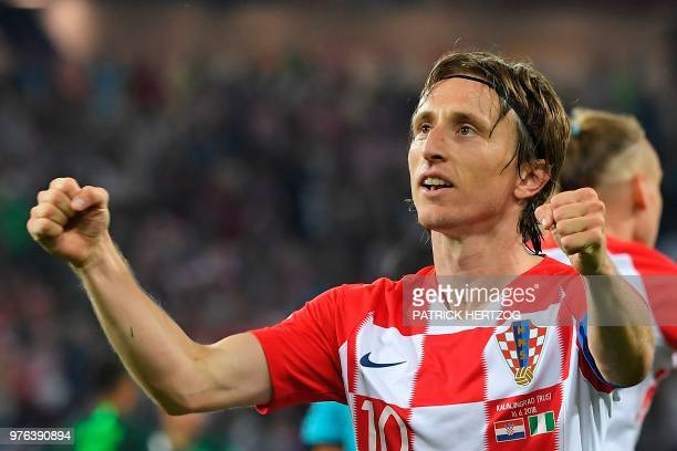 Croatia's midfielder Luka Modric celebrates scoring a penalty during the Russia 2018 World Cup Group D football match between Croatia and Nigeria at...