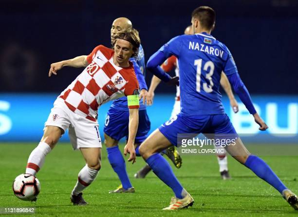 Croatia's midfielder Luka Modric controls the ball during the Euro 2020 qualification football match between Croatia and Azerbaijan at Maksimir...