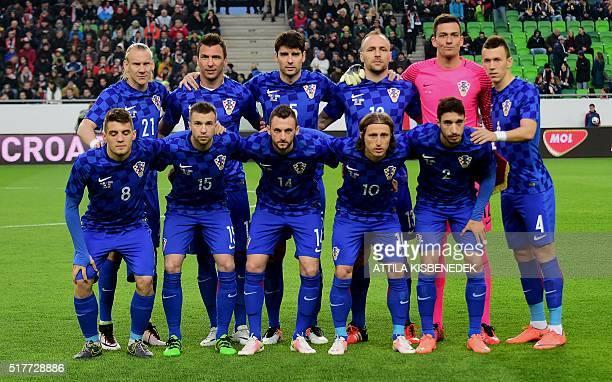 Croatia's national team players Mateo Kovacic Domagoj Antolic Marcelo Brozovic Luka Modric and Sime Vrsaljko Domagoj Vida Mario Mandzukic Vedran...