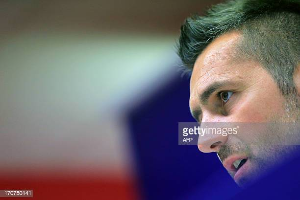 Croatia's Nenad Bjelica attends a press conference following his nomination as head coach of the Austria Wien on June 17 at the Generali Arena...
