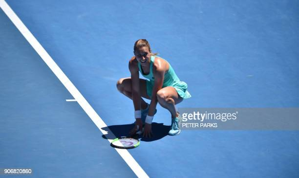 Croatia's Petra Martic celebrates beating Thailand's Luksika Kumkhum in their women's singles third round match on day five of the Australian Open...