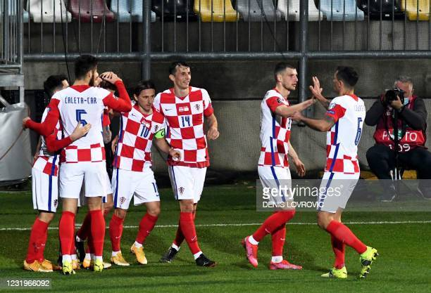 Croatia's player celebrate after scoring a goal during the FIFA World Cup Qatar 2022 qualification Group H football match between Croatia and Cyprus...