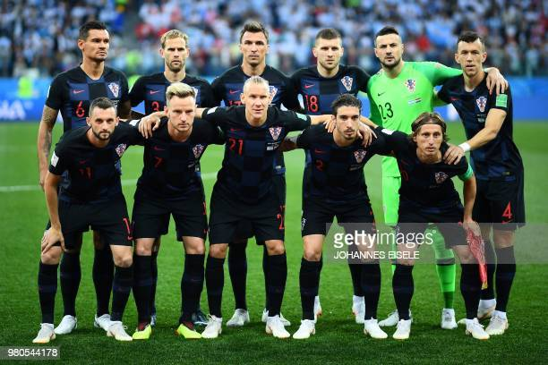 Croatia's players defender Dejan Lovren defender Ivan Strinic forward Mario Mandzukic forward Ante Rebic goalkeeper Danijel Subasic forward Ivan...
