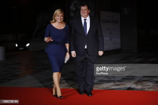 Croatia's President Kolinda GrabarKitarovic and her husband attend a state diner and a visit of the Picasso exhibition as part of ceremonies marking...