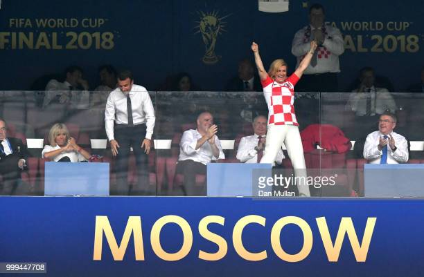 Croatia's President Kolinda GrabarKitarovic celebrates his team's first goal during the 2018 FIFA World Cup Final between France and Croatia at...