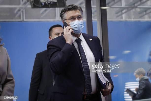 Croatia's Prime Minister Andrej Plenkovic arrives for the second day of the EU summit at the European Council building in Brussels on May 25, 2021. -...