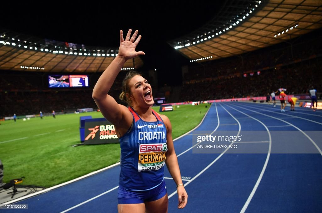 Croatia's Sandra Perkovic celebrates after winning the women's Discus Throw final during the European Athletics Championships at the Olympic stadium in Berlin on August 11, 2018.