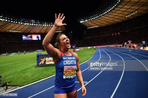 Croatia's Sandra Perkovic celebrates after winning the women's Discus Throw final during the European Athletics Championships at the Olympic stadium...
