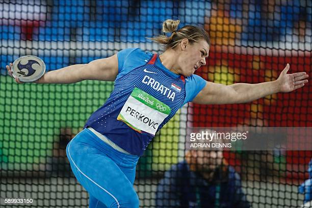 Croatia's Sandra Perkovic competes in the Women's Discus Throw Qualifying Round during the athletics competition at the Rio 2016 Olympic Games at the...