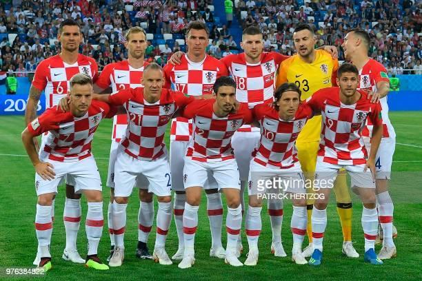Croatia's team players Croatia's defender Dejan Lovren Croatia's defender Ivan Strinic Croatia's forward Mario Mandzukic Croatia's forward Ante Rebic...