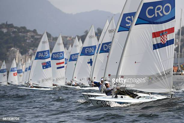 Croatia's Tonci Stipanovic sails during the Laser Men sailing race on Marina da Gloria in Rio de Janerio during the Rio 2016 Olympic Games on August...
